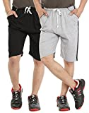 Gumber Pack of 2 Black & Gray Solid Shor...
