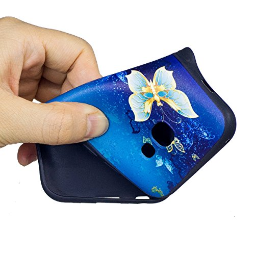 Coque Galaxy A3 2017, Étui Galaxy A3 2017, ISAKEN Coque Samsung Galaxy A3 2017 - Étui Housse Téléphone Étui TPU Silicone Souple Coque Ultra Mince Gel Doux Housse Motif Arrière Case Antichoc Doux Durab or papillon bleu