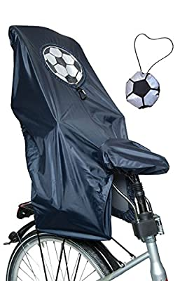 Lunari Lucky Cape Children's Bike Seat Rain Quick-2in 1Soccer, Black with Reflective Rendem Football-One Size-023031