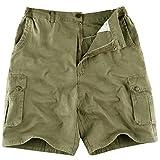 IKRR Pantalon Shorts Cargo Bermuda Pour Hommes Coton