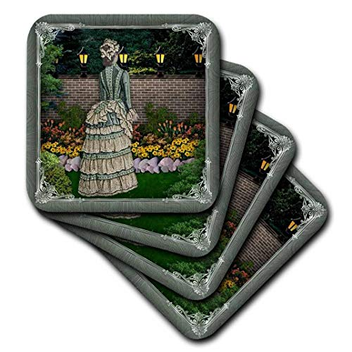 3dRose Victorian Lady im Garten mit Lampe Polen beleuchtet und Pretty Rahmen–Soft Untersetzer, Set 4(CST 167137_ 1)