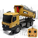 HUAXING Fernbedienung 1:14 6 Channel Full Functional Dump Truck, Die Cast Loader Dumper Construction Truck with Lights & Sounds