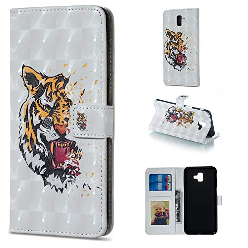 BONROY Hülle,Samsung Galaxy J6 Plus 2018 Schutzhülle, Lederhülle PU Leder Tasche Cover Wallet Case für Samsung Galaxy J6 Plus 2018 Smartphone-(XS-Tiger)