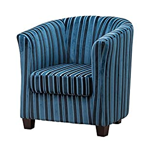 51DBwf6UGSL. SS300  - Sofa Collection Francois Striped Fabric Tub Chair/Armchair Seating-4 Colours Available (Blue), 72x71x78 cm