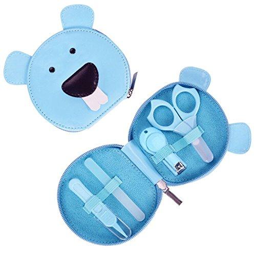 Livememory Babies Maniküre-Set Säugling Nagelknipser Set mit Schere & File & Nasenpinzette - 4 Stück - Blau