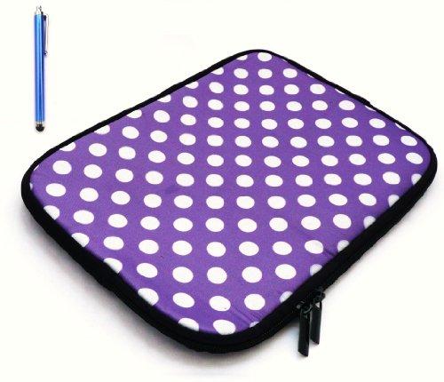 Emartbuy® Bundle Pack Of Blu Capacitivo / Resistivo Touchscreen Stylus Pen & Polka Dots Rosso / Bianco (Tablet 7 Pollici / eReader / Netbook) Acqua Neoprene Resistente Morbida Zip Caso / Copertura Adatto Per Odys Fusion Tablet (Tablet 7