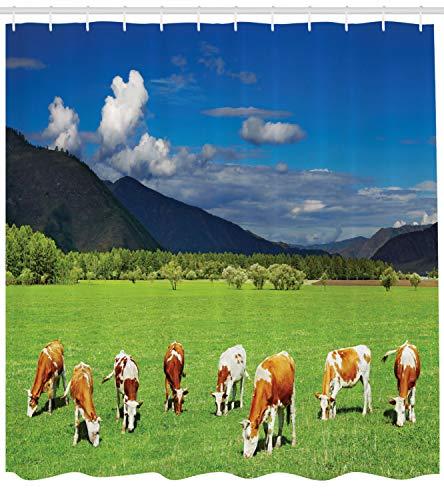ABAKUHAUS Das Vieh Duschvorhang, Berge Kühe weiden, mit 12 Ringe Set Wasserdicht Stielvoll Modern Farbfest und Schimmel Resistent, 175x180 cm, Mehrfarbig (Kuh-vieh)
