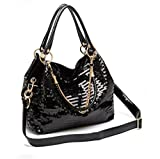 Frauen Messenger Bag Glisten PU Leder Schultertasche Cross Body Bag Tote Kühltasche Leder Frauen Handtasche Cooles Geschenk für Mädchen Black