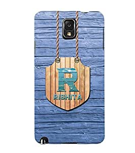 YuBingo Designer Printed Plastic Mobile Back Case Cover Panel for Samsung Galaxy Note 3 ( Name Surname Rishita (Wood Finish Printed on Plastic) )