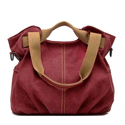 Honeymall Borsa tote da donna a mano di tela da viaggio casual Signore Borsetta Messenger Bag(blu) Rosso