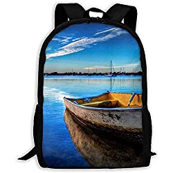 Boot im blauen Wasser Print Erwachsenen Rucksack Reiserucksack Business Taschen Student Lightweight Laptop für Männer & Frauen