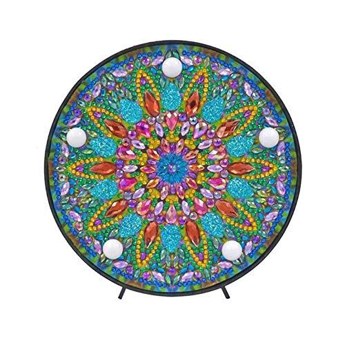 liuxi9836 Mandala Diamond Painting Kit mit LED-Nachtlicht DIY handgefertigte Kunstwerke Vollbohrer Crystal Drawing Kit Nachttischlampe Kunsthandwerk für Heimtextilien - Standard Drill Kit