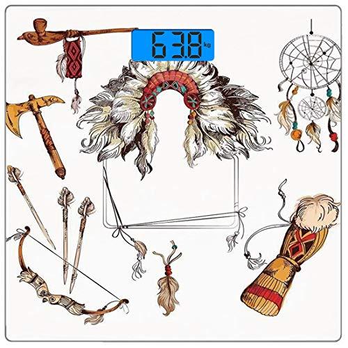 Digitale Präzisionswaage für das Körpergewicht Platz Stammes Ultra dünne ausgeglichenes Glas-Badezimmerwaage-genaue Gewichts-Maße,Ethnische Tomahawk Stammes-Native Chef Dreamcatcher Feather Old World