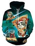 Graphic Hoodie, Chicolife Unisex junge herren Weihnachten Santa Dicke Pizza Katze mit Hut gedruckt bequeme und warme Pullover Hoodies Sweatshirt Kleidung Outfits S