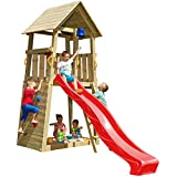 Blue Rabbit 2.0 Spielturm Belvedere mit Rutsche Kletterturm mit Kletterwand Glocke Sandkasten Lenkrad und Holzdach (Rutschenlänge 2,90 m, Rot)