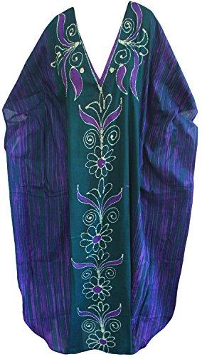 La Leela beachwear maxi robe en coton batik maillots de bain robe longue evevning caftan des femmes Violet