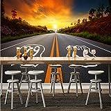 YUANLINGWEI Wandbild Tapete Benutzerdefinierte 3D Fototapeten Moderne Hd Sonnenuntergang Autobahn Landschaft Bild Bar Coffee Shop Sofa Tv Hintergrund Dekor,170Cm (H) X 250Cm (W)