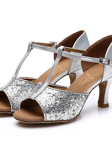 ShangYi Chaussures de danse ( Noir / Argent / Or / Autre ) - Personnalisables - Talon Personnalisé - Paillette - Latine / Salsa / Samba Silver