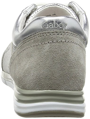 Gabor Goodie Damen Sneaker Silver (Silver Mesh/Leather/Grey Velour)