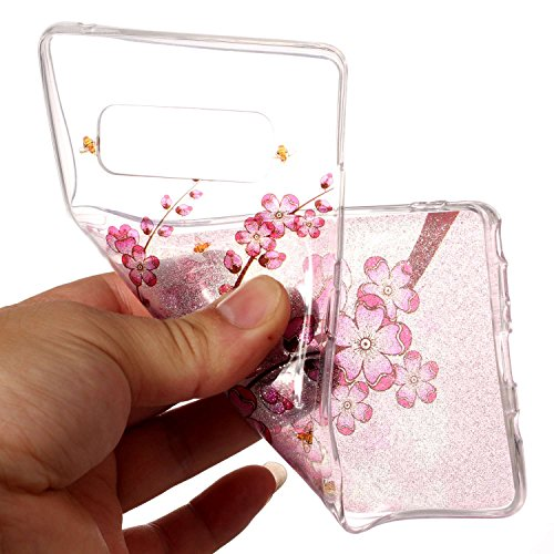 Hülle für Samsung Galaxy Note 8, Case Cover für Samsung Galaxy Note 8 [Scratch-Resistant] , ISAKEN Ultra Slim Perfect Fit Malerei Muster Weiche TPU Silikon Durchsichtig Transparent Protective Rückseit Pflaume Blume