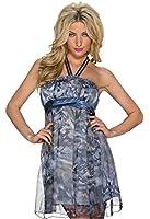 5801 Fashion4Young Damen Tailliertes Minikleid aus Chiffon Sommerkleid Kleid Chiffonkleid 2 Gr.