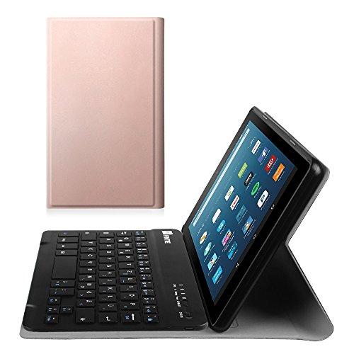 Fintie Bluetooth Tastatur Hülle für Fire HD 8 (7. Generation - 2017) / Fire HD 8 (2016 Modell) - Ultradünn Ständer Schutzhülle mit magnetisch abnehmbar drahtloser Bluetooth Tastatur, Roségold
