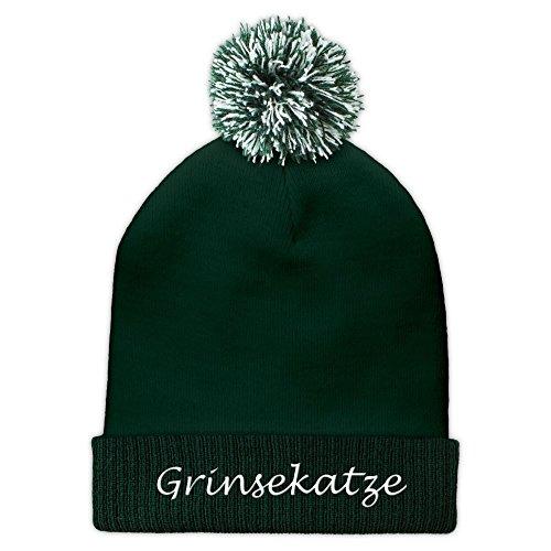 Pudelmütze mit Namen Grinsekatze Bestickt - Farbe Grün - personalisierte Mütze, Strickmütze, Namensstickerei, Bommelmütze