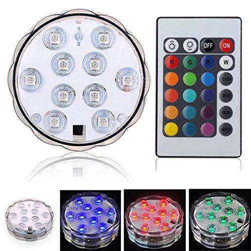 Led diving luce telecomando a raggi infrarossi 10led decorazione di natale, matrimonio, festa a casa, pool ground ect