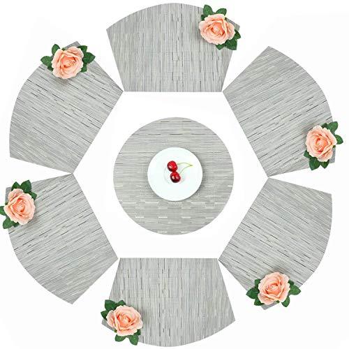 Homcomodar PVC Keil geformt Tischsets 6 Stück und 1 Stück Runde Tischsets für Esstische Wärmedämmung Tischset Set von 7 (Silber-grau) -