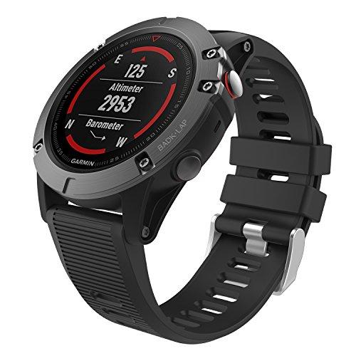 """MoKo Bracelet Garmin Fenix 5X, Bracelet de Remplacement en Silicone Souple pour Garmin Fenix 5X 51mm GPS Smart Watch / Fenix 3, S'adapte au Tour de Poignet 5.7""""-8.26"""", Pas compatible avec Fenix 5 5S, Noir"""