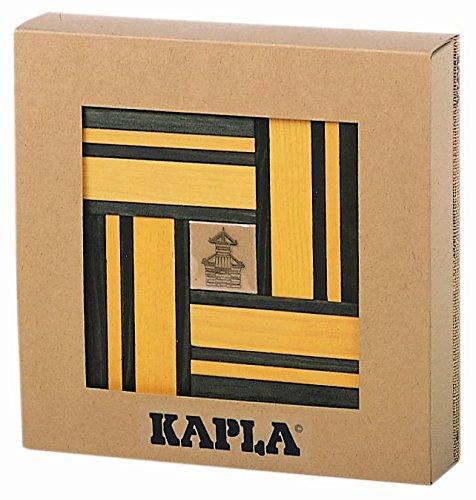 Kapla 9000107 Bois plättchen 40 Jaune et boîte 20 Vert + Livre