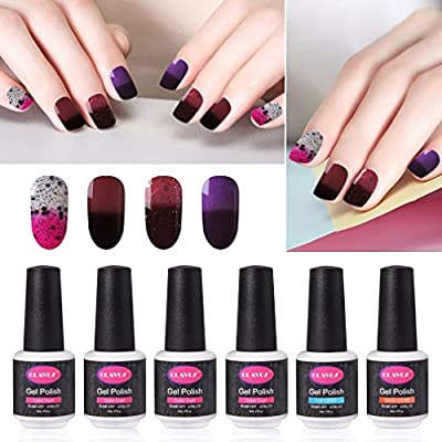CLAVUZ Gel Nail Polish 6pcs Kits Soak off Thermal Temperature Changing Color Collection with Top Coat and Base Coat Manicure Nail Art Starter Halloween Gift Set