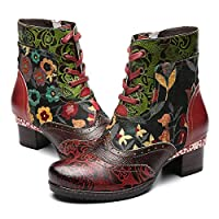 gracosy Ankle Boots Women Flat Leather Boots New Printing Retro Plant Bohemian Handmade Pattern Lace Up Low Block Heel Winter Autumn Side Zipper Shoes Ladies Outdoor Round Toe Walking Shoes Red 6 UK