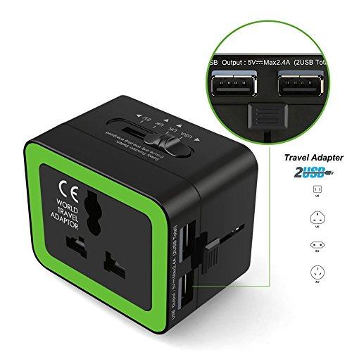 Universellen Reiseadapter, BEECOCO Reisestecker Adapter Reise-Adapter mit 2 USB-Ports Ladegerät für Weltweit 150 Ländern mit US/ UK/ AU/ EU Stecker(Schwarz)