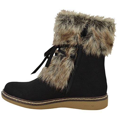 Damen Flach Kleiner Keilabsatz Kunstpelz Winter Stiefelette Stiefel Warm Fleece Größe Neu Schwarz Kunstwildleder