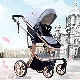 LZTET Kinderwagen Newborn Baby Cart Push Rod Höhenverstellbar 0-36 Monate Baby Kann Sitzen Liegende Tragbare Falten Vier Jahreszeiten Universal Shockproof Trolley,Grey