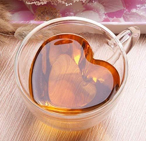 Gwill Hitzebeständige Kreative Doppelschicht Herzförmige Doppelwandige Isolierte Glaskaffeetassen oder Teetassen, Doppelwandiges Glas 240 ML - Klar, Einzigartig & Isoliert mit Griff