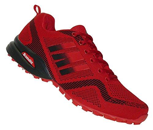 Bootsland Übergröße Luftpolster Turnschuhe Sneaker Laufschuhe 024, Schuhgröße:47, Farbe:Rot/Schwarz