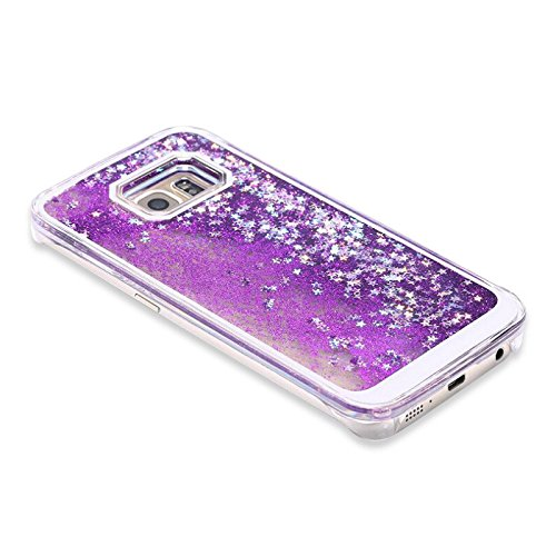 Handy Hülle Bling Bling Glitter Liquid Schutzhülle Cover Case Star Treibsand von ZhinkArts für Apple IPhone 4 / 4S Blau Stern Lila Herz