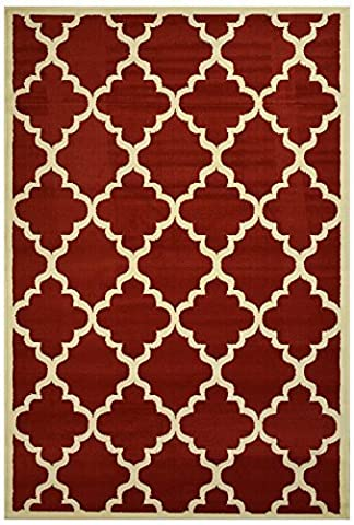 Modela Collection Trellis Modern Area Rug Rugs (Red, 7