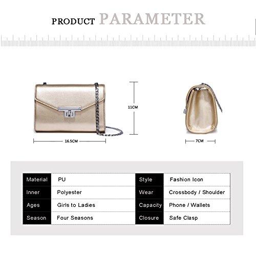 Sacchetti di busta di retro eleganti borsa della catena del sacchetto della leva del fascio di Yoome della borsa per le donne borse per gli adolescenti - Nero Oro