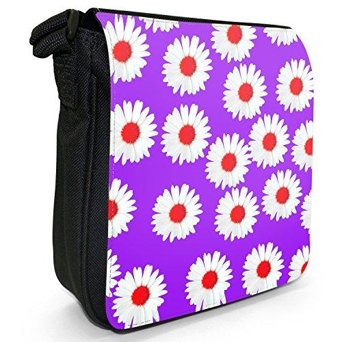 Dainty margherite-Borsa a tracolla in tela, piccola, colore: nero, taglia: S Nero (Purple Dainty Daisies)