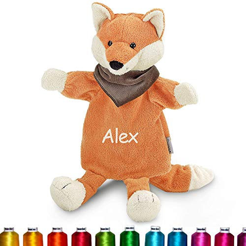 LALALO Sterntaler Handpuppe Fuchs Bestickt mit Namen, Kasperlepuppe, Kasperletheater Puppe personalisiert, Geschenk Kinder & Baby Geburtstag, Orange