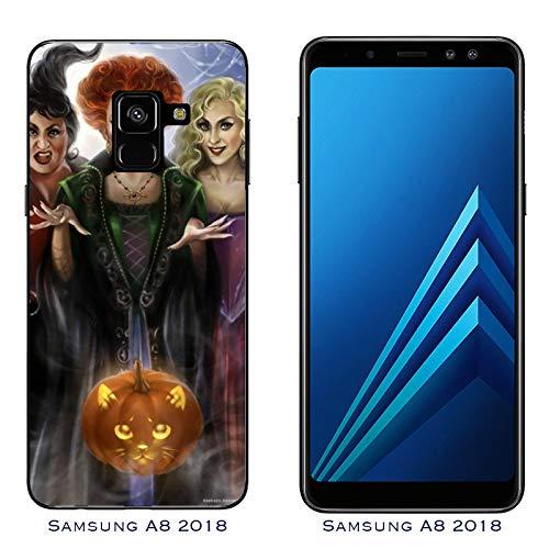 Hülle Galaxy A8 (2018) Case Samsung Galaxy A8 (2018) Halloween Hokuspokus streghe/Cover Druck auch an den Seiten/Anti-Rutsch Anti-Rutsch Anti-Scratch Schock-resistenten Schutz Schutzulle Starre