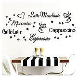 Grandora W3047 tatuaggio a muro caffè I nero I decalcomanie cucina adesivo autoadesivo da muro adesivi murali