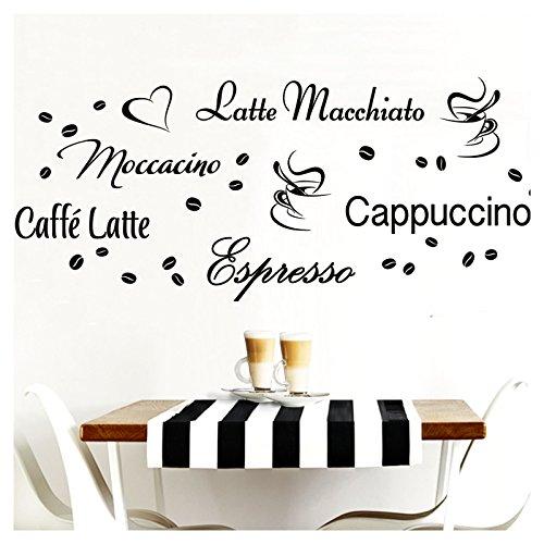 Grandora Wandtattoo Kaffeesorten I hellrosa Kreativset I Kaffee Kaffeebohnen Kaffeetasse Küche...