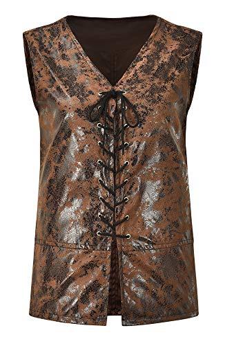 Bslingerie® Herren Steampunk Gothic Faux Leather Kostüm Weste (3XL, Lange braune Weste)
