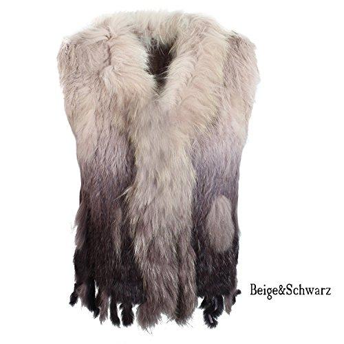 Glamexx24 Gilet da donna vera pelliccia di coniglio da donna per autunno e inverso Caffe