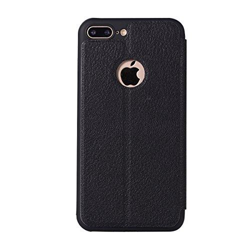 Custodia iPhone 7 Plus, Flip Premium Portafoglio Custodia in sintetica Protettiva Custodia [Cuffie Custodia] per iPhone 7 Plus. (Oro) Nero