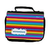 Striefchen Regenbogen Kulturtasche mit gratis Namensaufdruck